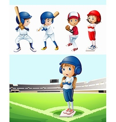 Kids playing baseball in the field vector