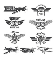 Labels set with vintage airplanes vector