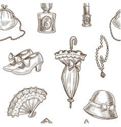Lady retro clothes sketch pattern vector