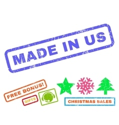 Made In Us Rubber Stamp vector