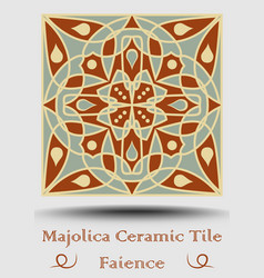 Majolica ceramic tile in beige olive green and vector