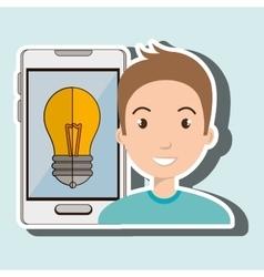 man smartphone idea isolated icon design vector image