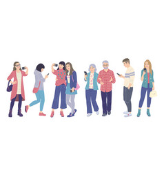men and women using smartphones vector image