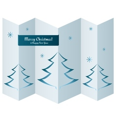 Merry Christmas card with trees on paper texture vector