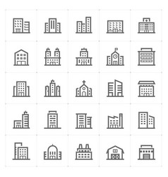 Mini icon set - building icon vector
