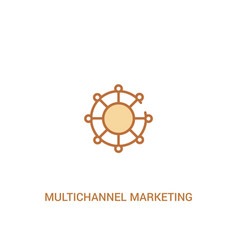 Multichannel marketing concept 2 colored icon vector