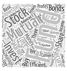 Mutual Funds A Secure Investment text background vector image