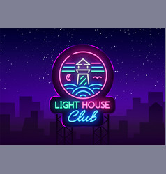 night club lighthouse neon sign lighthouse logo vector image