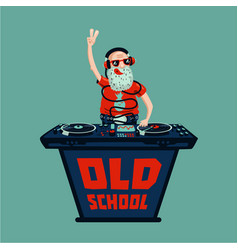 Old school retro party senior adult dj with vinyl vector