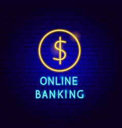 online banking neon label vector image