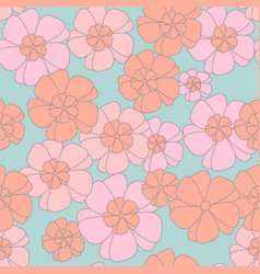 Orange and pink flower seamless pattern vector