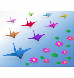 origami birds flying over the water and lotus vector image