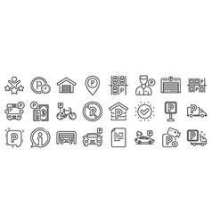 parking line icons set garage valet servant vector image