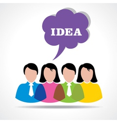 people team with idea message bubble vector image