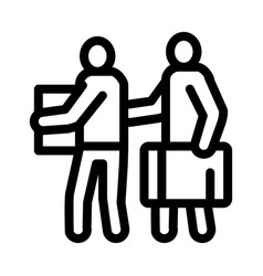 people with luggage icon outline vector image