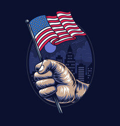 Peoples hands holding united states flag vector