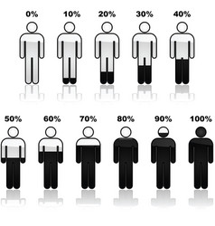 Percentage people infographic icons vector