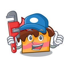 Plumber sponge cake mascot cartoon vector