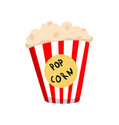 popcorn in striped bucket cartoon vector image