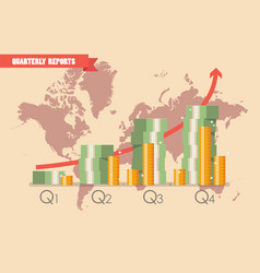 Quarterly reports infographic vector