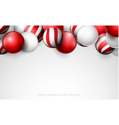 red and white christmas balls christmas banner vector image