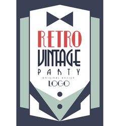 retro vintage party logo original design template vector image