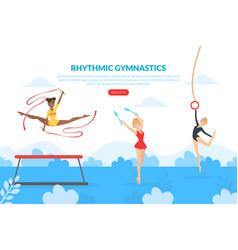 rhythmic gymnastics landing page template vector image