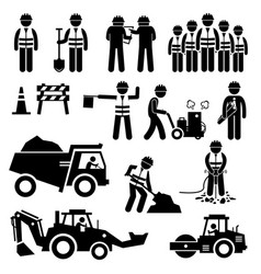 Road construction worker stick figure pictogram vector