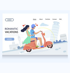 romantic vacation website landing page vector image