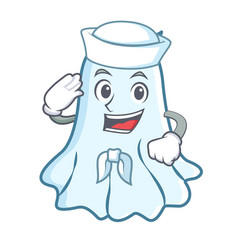 sailor cute ghost character cartoon vector image
