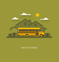 school bus with suburban house on a background vector image