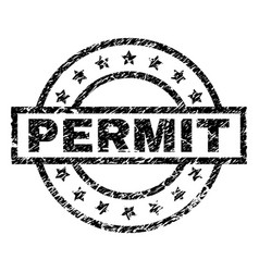 Scratched textured permit stamp seal vector
