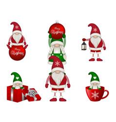 set funny christmas gnomes vector image