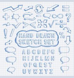 set hand drawn elements font mathematics and vector image