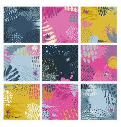 Set nine abstract backgrounds with hand drawn vector