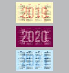 Set of color calendar grid templates vector