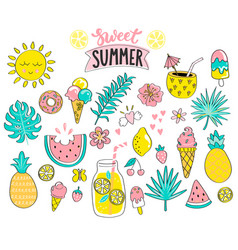 set of sweet summer hand drawn elements vector image