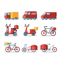 set of vehicles for logistic service vector image