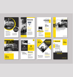 set of yellow cover and layout brochure flyer vector image