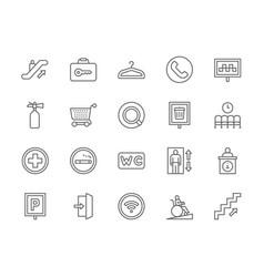 set public navigation line icons hanger vector image