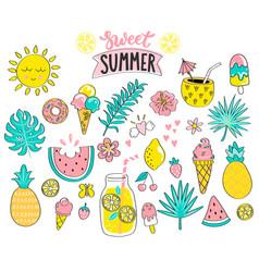 set sweet summer hand drawn elements vector image