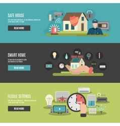 Smart home 3 flat interactive banners vector