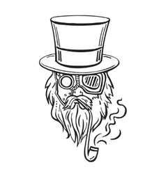 Steampunk old man in top hat and glasses with the vector