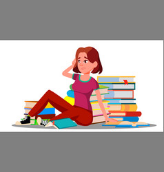 Stressed student sitting surrounded stacks of vector