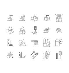 Symbol of higiene black thin line icon set vector