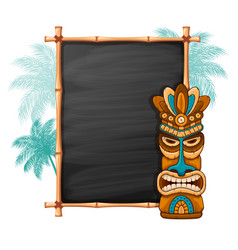 Tiki mask and bamboo frame vector