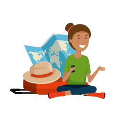 tourist woman with paper map and suitcase and hat vector image