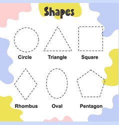 Trace shapes activity page for kids tracing vector