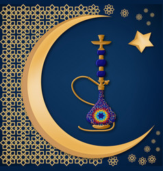 traditional turkish ceramic blue hookah with vector image