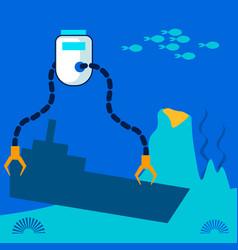 underwater rescue robot flat vector image